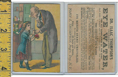 Victorian Card, 1890's, Dr Isaac Thompson, Troy NY, Doctor Gives Girl Medicine
