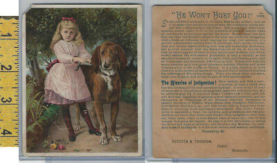 Victorian Card, 1890's, Dr Jayne, Keosten Torrison, Fisher MN,  Girl & Dog