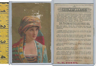Victorian Card, 1890's, Dr Thomas Oil, Forry Druggist, Gypsy Woman