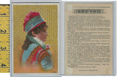 Victorian Card, 1890's, Dr Thomas Oil, Woman Blue Dress & Red Hat