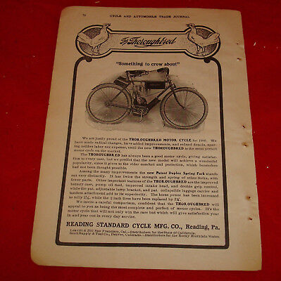 Vintage 1906 Old Magazine Print Advertisement The Thoroughbred Motorcycle