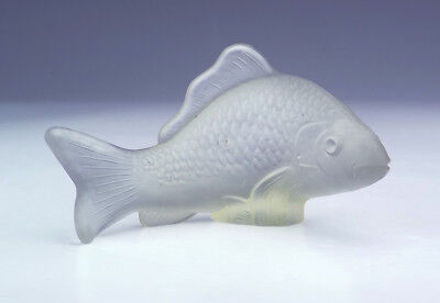 Vintage French Frosted Glass - Carp Fish Figure - Art Deco!