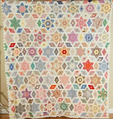 Vintage 30's Field of Diamonds Stars Antique Mosaic Quilt Top ~SMALL PIECES!
