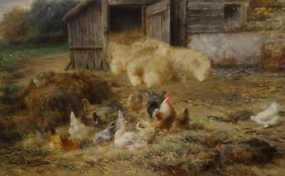 Fine Large 19th Century French Farm Chickens Sheep Barn Scene Antique Painting