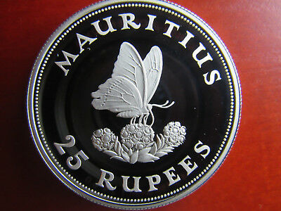 MAURITIUS, 25 Rupees 1975, SCHMETTERLING Silber..