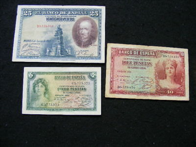 Spain Banknotes Lot of 3 as pictured