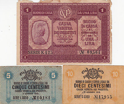 5&10 Centessimi &1 Lira Vg Banknote From Austrian Occupation Of Venice 1917!