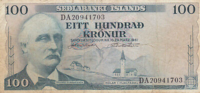 100 Kronur Vg-Fine Banknote From Iceland 1957!pick-40