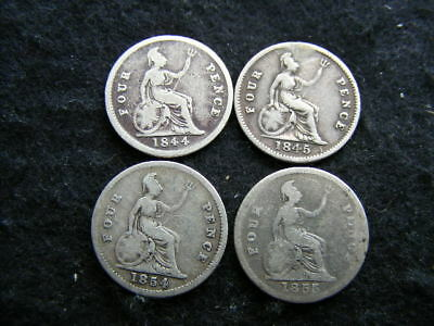 Victoria Silver Gorats Lot of 4: 1844 1845 1854 1855 as pictured