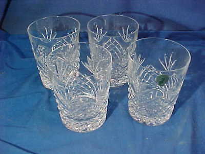 4-WATERFORD CRYSTAL 12 oz GLASSES in CIARA DOUBLE OLD FASHIONED Pattern