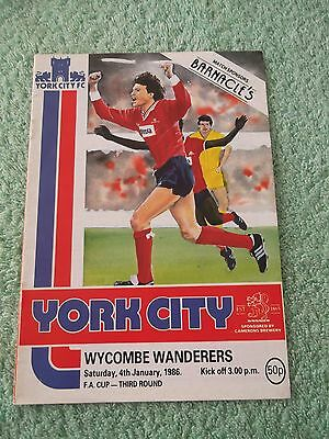 1985/86 York City v Wycombe Wanderers FA Cup