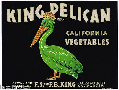 Crate Label Vintage 5X7 King Pelican Green Bird Crowned Sacramento 1950S Classic