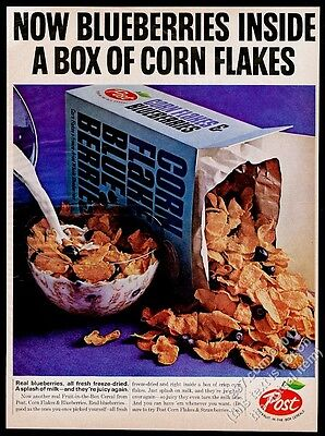 1966 Post Corn Flakes and Blueberries cereal photo vintage print ad