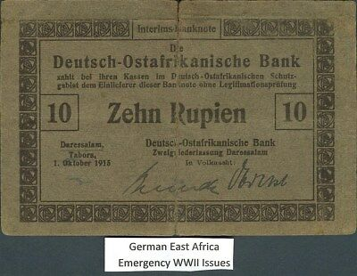 GERMAN EAST AFRICA, WWI EMERGENCY ISSUES 1915 10 RUPIEN NOTE P#38a