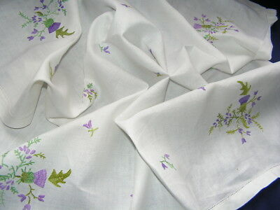 B'ful Vtg Richly Hand Embroidered Bouquets Of Scottish Thistle Lenen Tablecloth