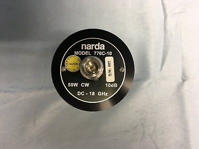 NARDA 776C-10  50W 10dB DC-18GHz Fixed RF Coaxial Attenuator MINT!