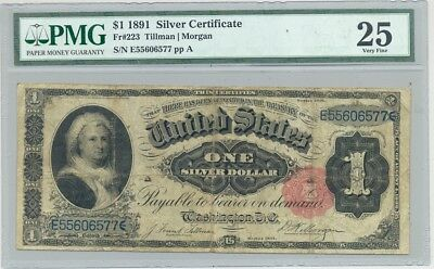 $1 Series 1891 Martha Silver Certificate in nice condition (PMG Very Fine 25)