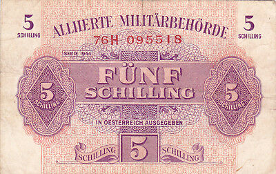 5 Schilling Vf Banknote From Allied Forces In Austria 1944!pick-105