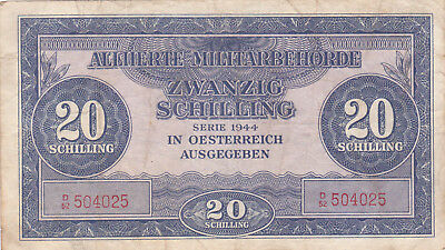 20 Schilling Fine Banknote From Allied Forces In Austria 1944!pick-107