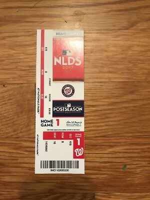 2017 Washington Nationals Vs Chicago Cubs Nlds Playoff Ticket Stub Game #1