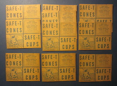 Lot of 10 Old Vintage 1951 - SCOOPY CLOWN - Safe-T Ice Cream CONE / CUP Coupons