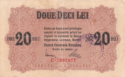20 Lei Fine Banknote From German Occupied Romania With Stamp 1917!pick-M6!rare!