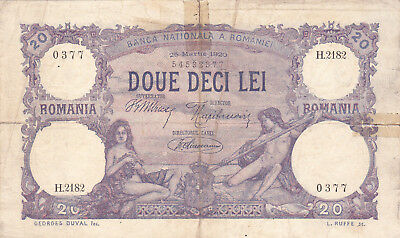 20 Lei Vg Banknote From Romania 1920!pick-20