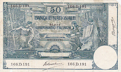 50 Francs Vg Banknote From Belgium 1913!!pick-68!rare!