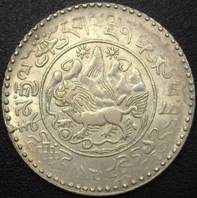 Tibet Be16-20(1946) Silver 3 Srang  Y#26  Near Choice Uncirculated