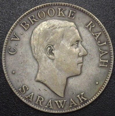 Sarawak 1927 Silver 50 Cents  Km# 19  Extremely Fine