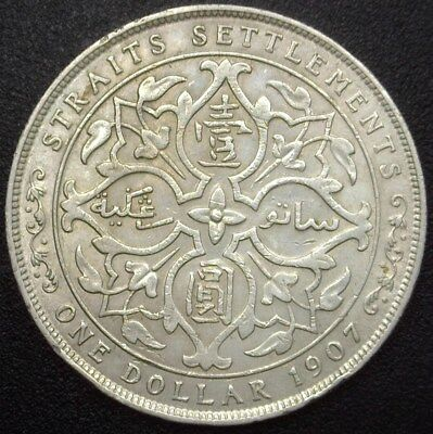 STRAITS SETTLEMENTS 1907 SILVER DOLLAR  Y#25a  ABOUT UNCIRCULATED