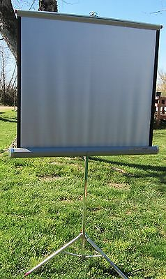 "Vintage Da Lite Silver King 40"" x 40"" Projector Movie Screen Tripod Stand"
