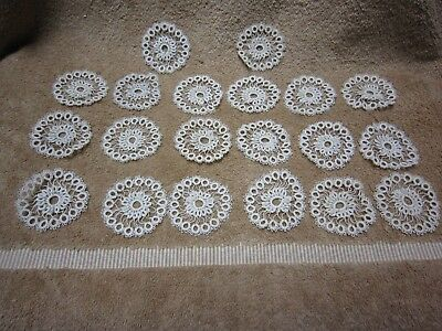 20 Vintage 2-Inch Hand-Tatted Medallions Off White