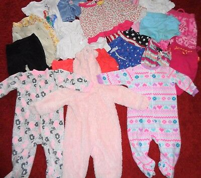 Huge 22 Pc Lot Of Girls Clothes Sleepers Pants Shirts Us Polo Size 0-3 3-6 9 Mo.