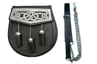 Highlander Genuine Leather Scottish Sporran & Belt Pewter Tone Celtic Filigree