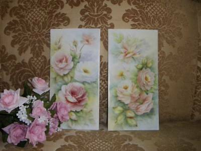 Pair of Large Gorgeous Hand Painted~Signed Porcelain Tiles ROSES!