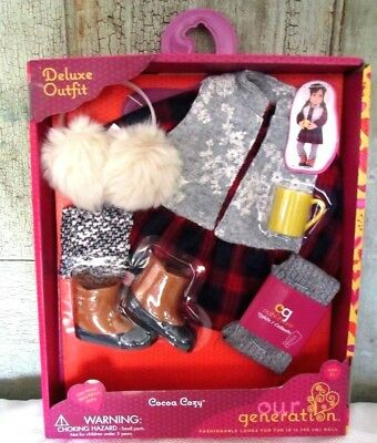 """AG Our Generation 18"""" Girl Doll Cocoa Cozy Red BUFFALO PLAID Clothes Outfit NEW"""
