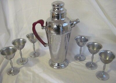 Vintage Mid Century Hammered Chrome Bakelite Cocktail Shaker Drink Mixer Set