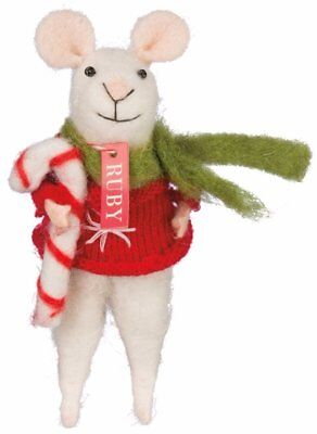 Candy Cane Mouse Ornament Holiday Figurine Primitives by Kathy
