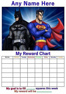 Personalised Childrens A4 Reward Behaviour Chart Batman Superman And Stickers !