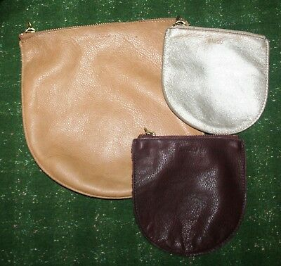 Lot of 3 BAGGU Leather U Pouches: 1 large & 2 small