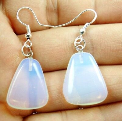 Hand-carved of Opalite Trapezoid pendant Gemstone Earrings Sliver Hook B9