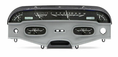 Dakota 58 Chevy Impala Analog Dash Gauges Black Alloy White VHX-58C-IMP