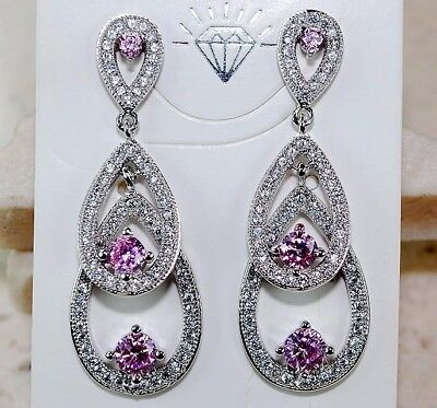 2CT Pink Sapphire & White Topaz 925 Genuine Sterling Silver Earrings Jewelry