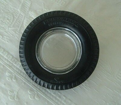 Vintage Seiberling Sealed-Aire Advertising Rubber Tire with Clear Glass Ashtray