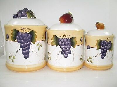 Home Interiors Sonoma Villa Canisters, Set of 3, Fruit Pattern Design