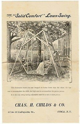 Solid Comfort Lawn Swing Chas Childs Utica NY Vintage Leaflet Outdoor Furniture