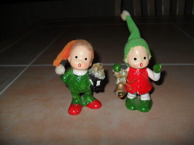 Vintage Japan Napco Christmas Girl w/Bell & Boy w/Lantern Pair Figurines # 9754