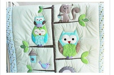 7 P  Adorable Owl design Baby Boy Crib Cot Bedding Quilt Set Bedding Xmas gift