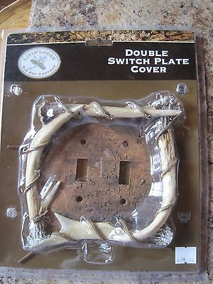 ANTLER Resin cast Double Switch Plate Cover Lodge Cabin Lake Big Sky Carver new
